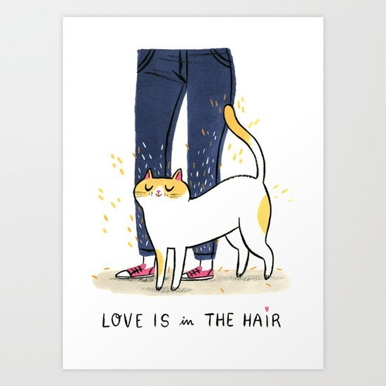 Cat art - love is in the hair