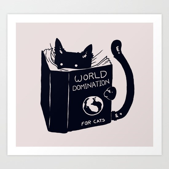 Art of cat reading world domination book for cats.