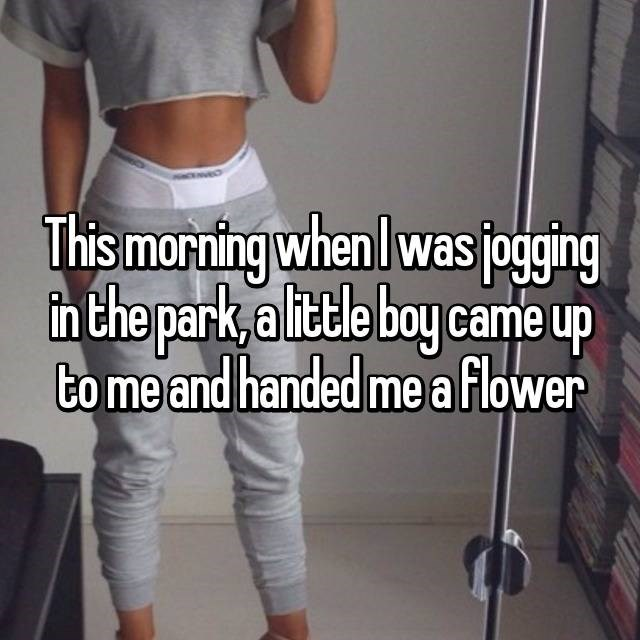 White - This morning when I was joging n the park, a little boy came up to me and handed me a flower