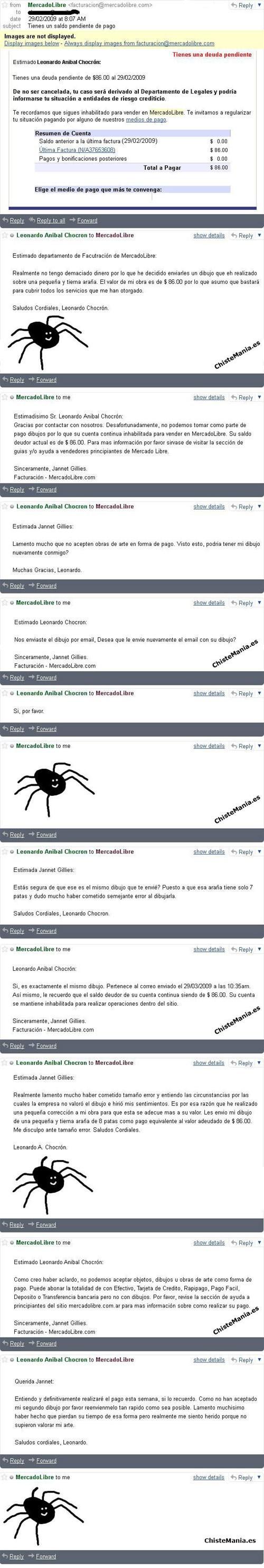 cliente de mercado libre trollea a la pagina con un dibujo de arana