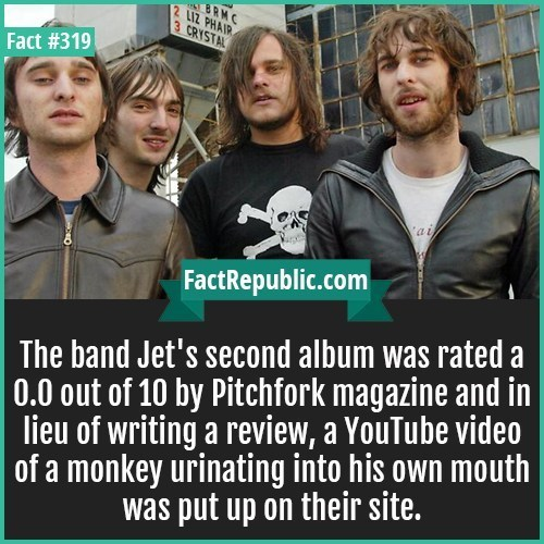 Photo caption - BRMC 2 L1Z PHAIR 3 CRYSTAL Fact #319 ai FactRepublic.com The band Jet's second album was rated a 0.0 out of 10 by Pitchfork magazine and in lieu of writing a review, a YouTube video of a monkey urinating into his own mouth was put up on their site.