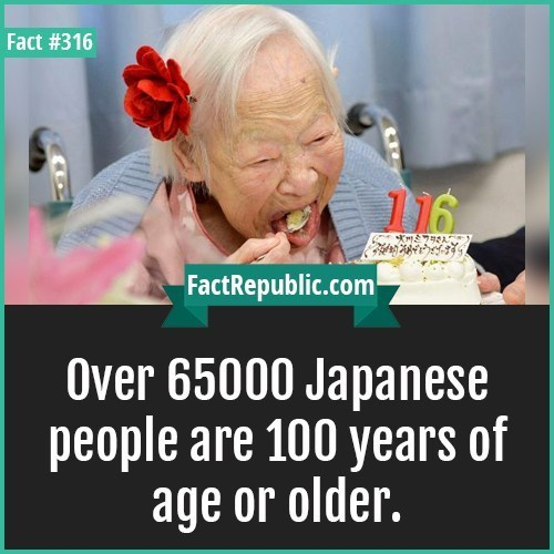 Facial expression - Fact #316 116 FactRepublic.com Over 65000 Japanese people are 100 years of age or older.