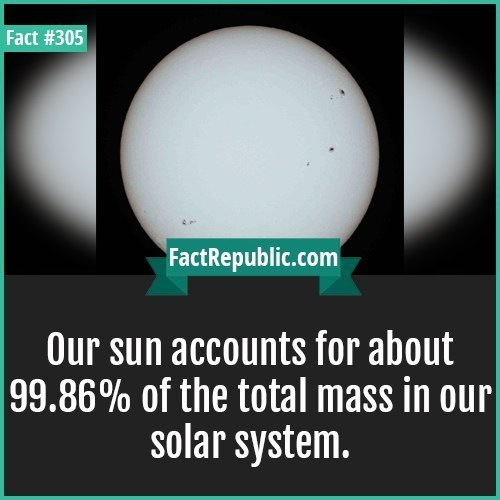 Text - Fact #305 FactRepublic.com Our sun accounts for about 99.86% of the total mass in our| solar system.