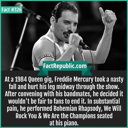 Text - Fact #326 FactRepublic.com At a 1984 Queen gig, Freddie Mercury took a nasty fall and hurt his leg midway through the show. After convening with his bandmates, he decided it wouldn't be fair to fans to end it. In substantial pain, he performed Bohemian Rhapsody, We Will Rock You & We Are the Champions seated at his piano.