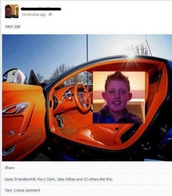 Vehicle - 19 minutes ago new car Share Isaac EvansBowhill, Rory Clark, Jake Wilkes and 32 others like this. View 1 more comment