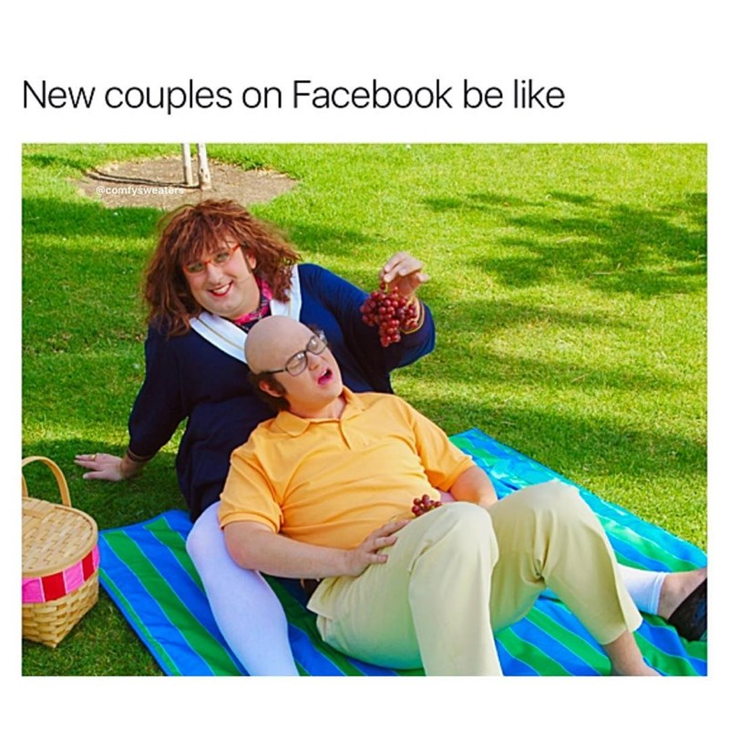 Funny meme about how new couples are oversharing and sappy on Facebook.