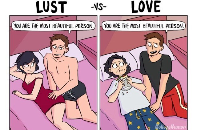 Lust VS Love cartoon about thinking she is the most beautiful person