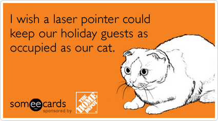 Text - I wish a laser pointer could keep our holiday guests as occupied as our cat. someecards sponsored by ME HO DEP THE 10ES