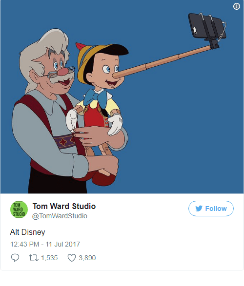 Pinocchio using his nose to take a selfie with him an Gepetto