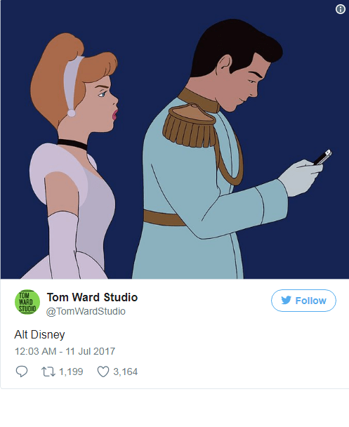 Prince Charming ignoring Cinderella to check his phone for his Tinderella