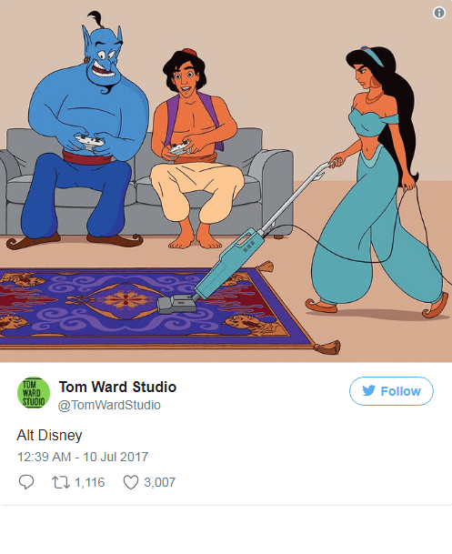 updated Alladin characters getting heat for not cleaning their flying carpet.