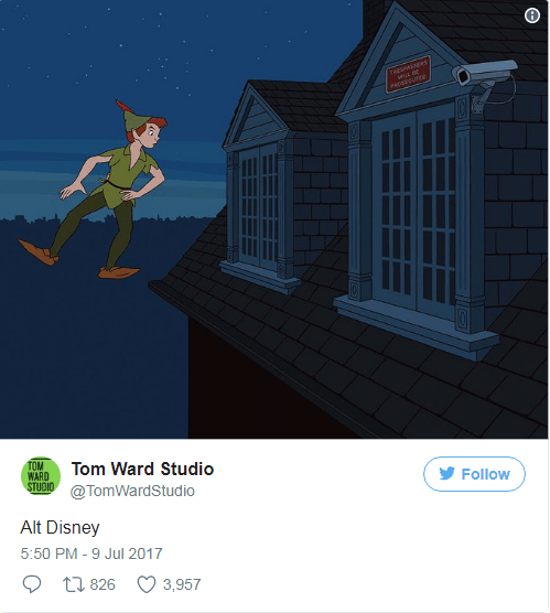 Peter pan flying to a place where security cameras are everywhere