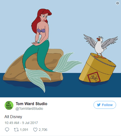 Ariel the mermaid floating with barrel of toxic waste