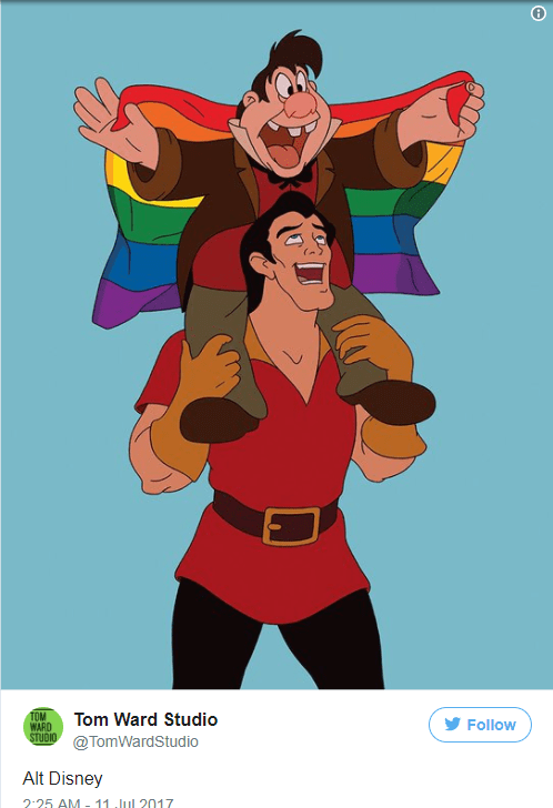 Modern version of Gaston and he is gay.