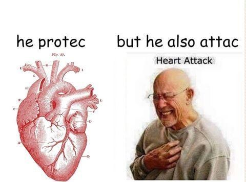 Heart protec and attac dank meme