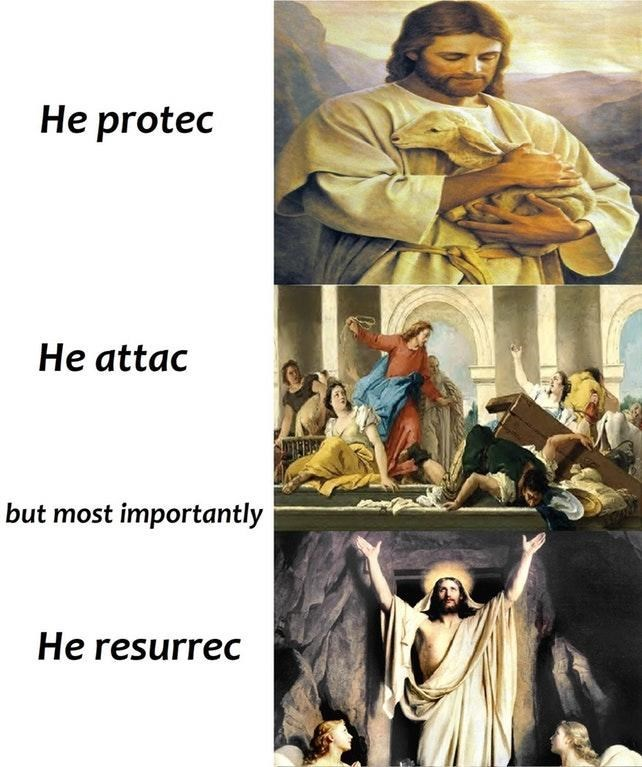 dank meme of Jesus protec/attac
