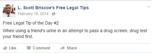 Text - L.Scott Briscoe's Free Legal Tips AFebruary 19, 2014 Free Legal Tip of the Day # 2 When using a friend's urine in an attempt to pass a drug screen, drug test your friend first. eLike Comment Share