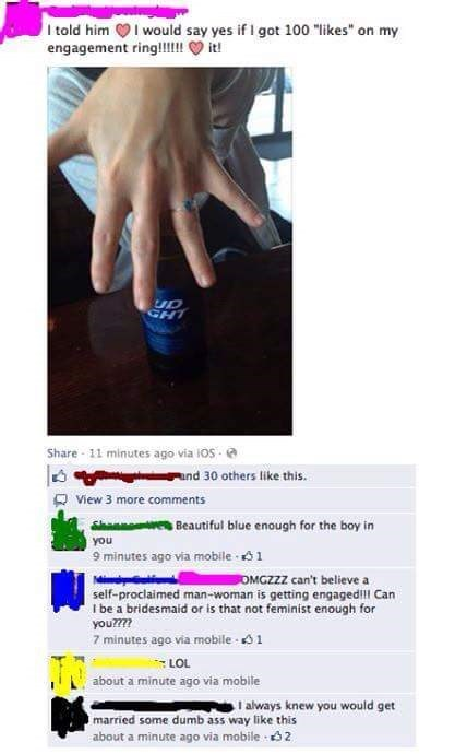 Cringeworthy feminist got engaged and said she would say yes if she got 100 likes for her ring.