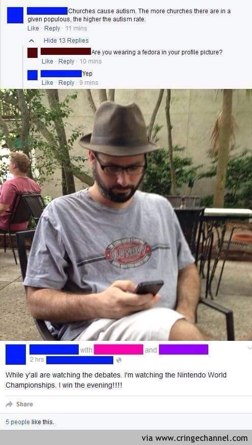 Man claiming churches cause autism is wearing fedora in his facebook profile picture