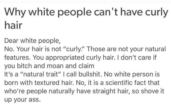 Cringeworthy post by someone trying to claim curly hair is not for white people.