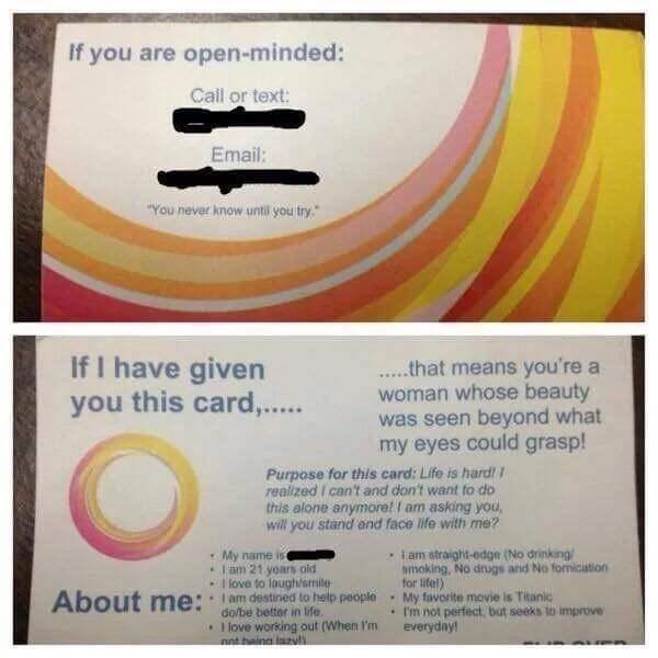 Cringeworthy business card some dude uses to pick up girls
