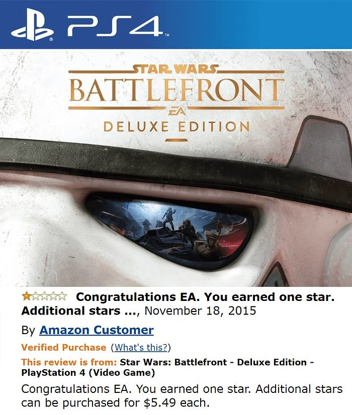 amazon review about ps4 game Congratulations EA. You earned one star. Additional stars., November 18, 2015 By Amazon Customer Verified Purchase (What's this?) This review is from: Star Wars: Battlefront Deluxe Edition PlayStation 4 (Video Game) Congratulations EA. You earned one star. Additional stars can be purchased for $5.49 each