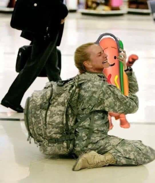 Funny meme about hot dog snapchat filter, being tearfully reunited with member of military.