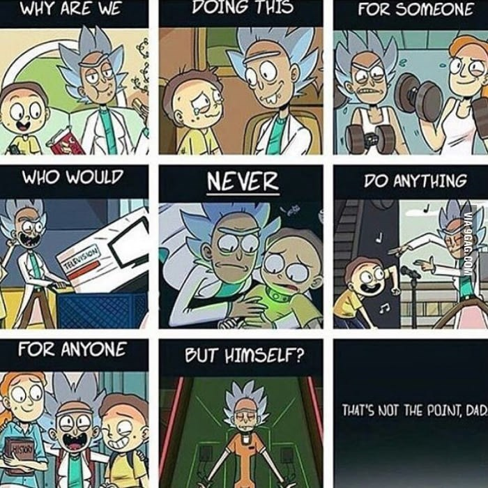 Comics - WHY ARE WE DOING THIS FOR SOMEONE WHO WOULD NEVER DO ANYTHING TELEVISION FOR ANYONE BUT HIMSELF? THAT'S NOT THE POINT, DAD ISTORS VIA 9GAG.COM