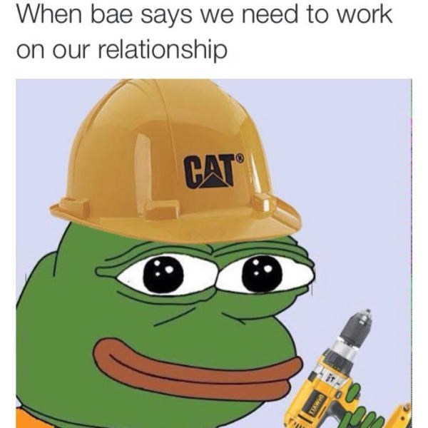 Cartoon - When bae says we need to work on our relationship CAT