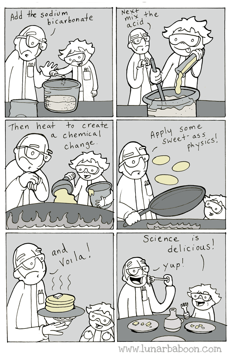 Text - Add the sodium bicarbonate Next yhe acid Then heat to create chemica a Apply Some Sweet- ass change Physics! Science and i's delicious! Vai la yup! www.lunarbaboon.com