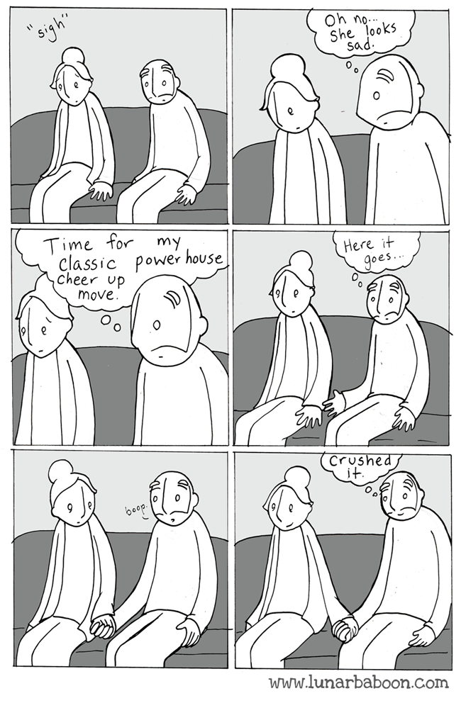 """Cartoon - """"siyh Oh no. She looks Sad Time for classic Power house Cheer up my Here it goes move Crushed boop www.lunarbaboon.com"""