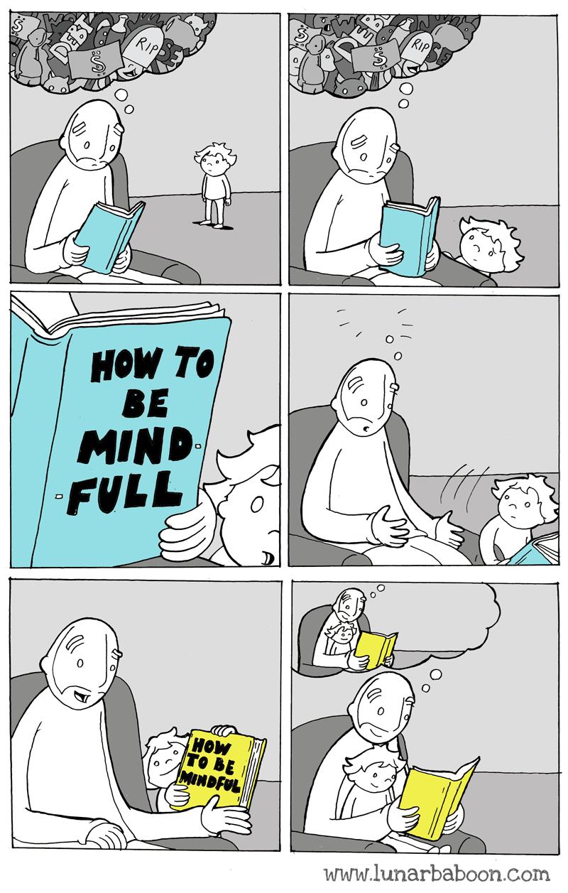 Cartoon - RIP нOW TO, BE MIND FULL HOW то BE MINDFUL www.lunarbaboon.com