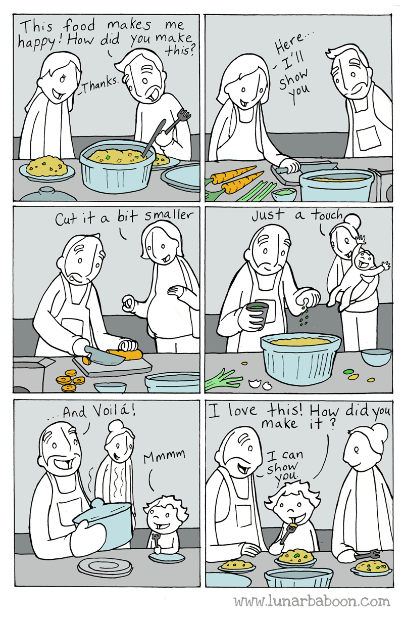 White - This food makes me happy How did you make Here. I'll this? Thanks Show you Cut it bit smaller a Just a touch And Voil á! I love this! How did you make it? Mmmm I can show you. www.lunarbaboon.com