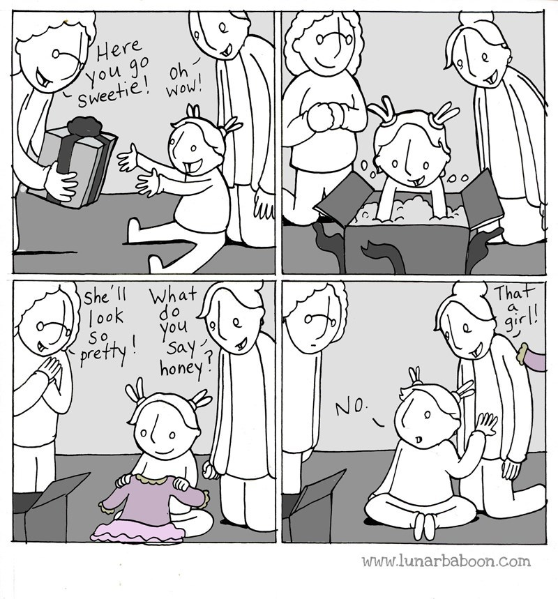 Cartoon - Here you go Sweetie oh Wow! She'l What 10ok do you That SO prettySay honey a girl! NO. www.lunarbaboon.com