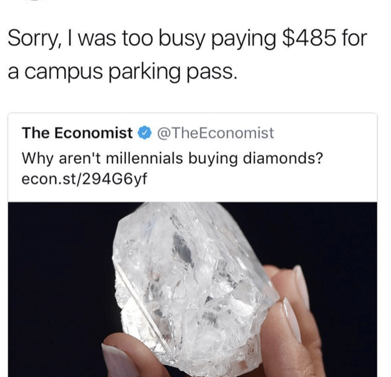 Text - Sorry, I was too busy paying $485 for a campus parking pass. The Economist @TheEconomist Why aren't millennials buying diamonds? econ.st/294G6yf
