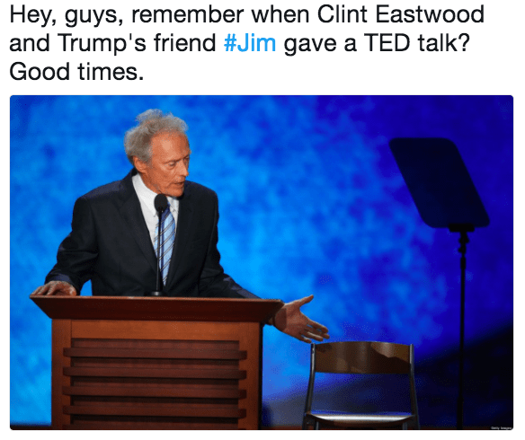 Public speaking - Hey, guys, remember when Clint Eastwood and Trump's friend #Jim gave a TED talk? Good times.