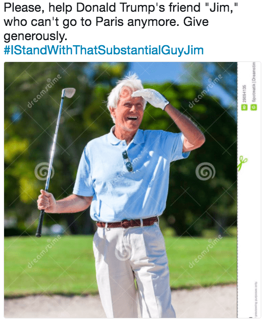 "Golfer - Please, help Donald Trump's friend ""Jim,"" who can't go to Paris anymore. Give generously #IStandWithThatSubstantialGuyJim dreamstime dream ime F me dreamstime dreamstime 10 29094135 Spotmatik Dreamstim sdn"