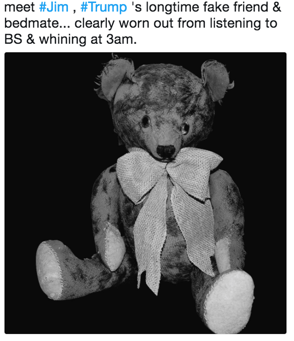 Teddy bear - meet #Jim , #Trump 's longtime fake friend & bedmate... clearly worn out from listening to BS & whining at 3am.