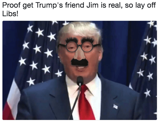 Photo caption - Proof get Trump's friend Jim is real, so lay off Libs!