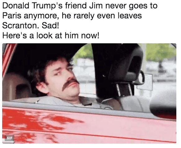 Motor vehicle - Donald Trump's friend Jim never goes to Paris anymore, he rarely even leaves Scranton. Sad! Here's a look at him now! GIF