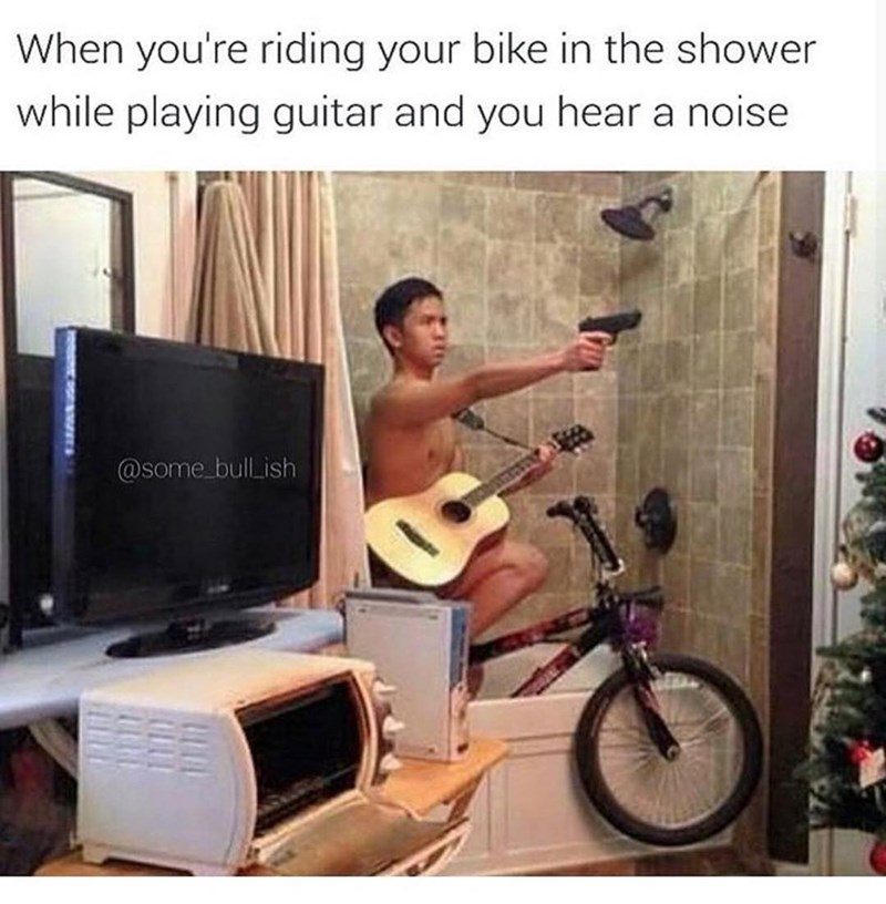 Funny meme about when you're playing guitar and watching tv in the bathroom, weird photo.