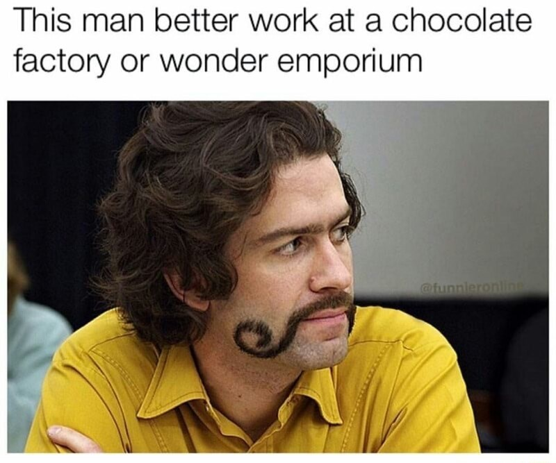 Funny meme of a man with elaborate mustache with caption how he better work at a chocolate factory or the wonder emporium with a mustache like that