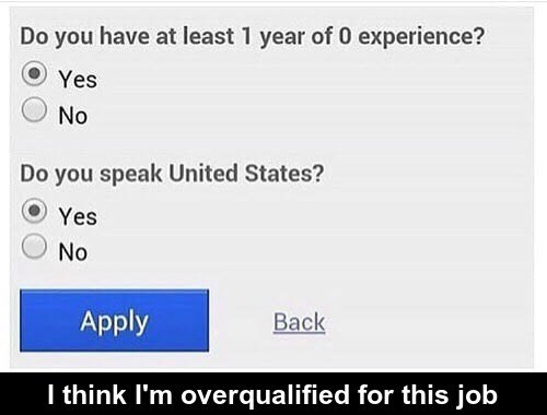 Funny meme of job questionnaire that you might be over qualified for.