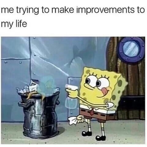 Spongebob meme about trying to clean trash up