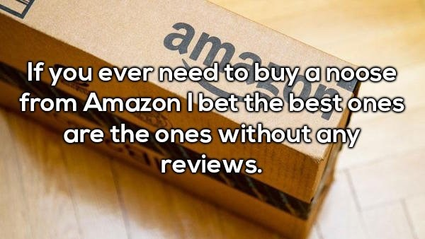 Text - ama If you ever need to buy a noose from Amazon I bet the best ones are the ones without any reviews.