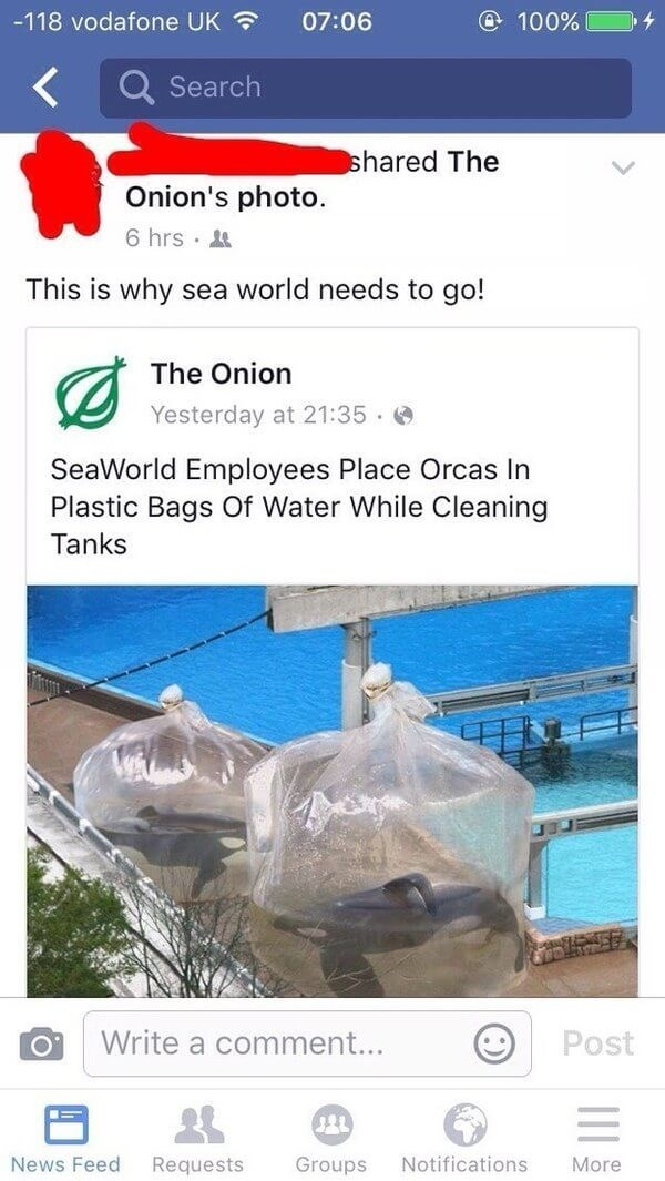 Water - -118 vodafone UK @ 100 % 07:06 Search shared The Onion's photo 6 hrs This is why sea world needs to go! The Onion Yesterday at 21:35 SeaWorld Employees Place Orcas In Plastic Bags Of Water While Cleaning Tanks Write a comment... Post Notifications More News Feed Requests Groups