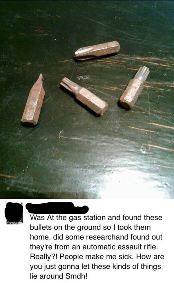 Bullet - Was At the gas station and found these bullets on the ground so I took them home. did some researchand found out they're from an automatic assault rifle Really?! People make me sick. How are you just gonna let these kindss of things lie around Smdh!