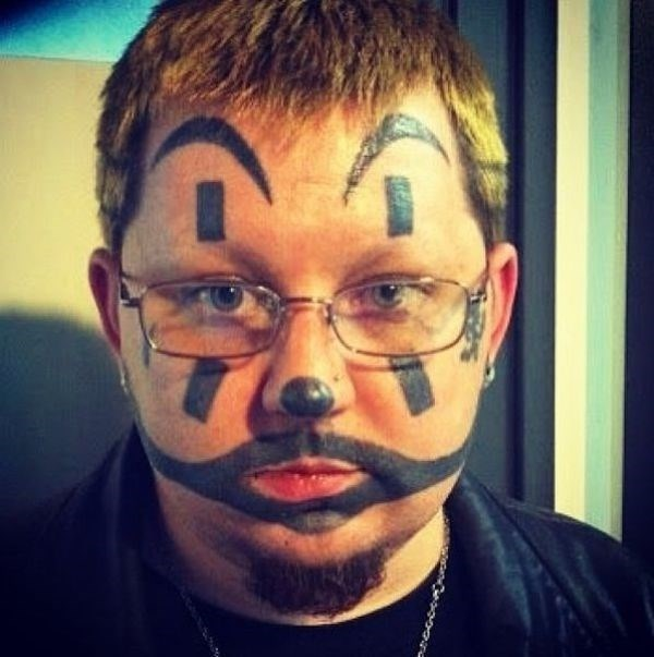Juggalo makeup painted onto a mans face