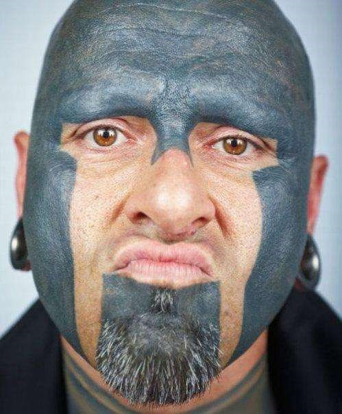 Wrestling mask face tattoo