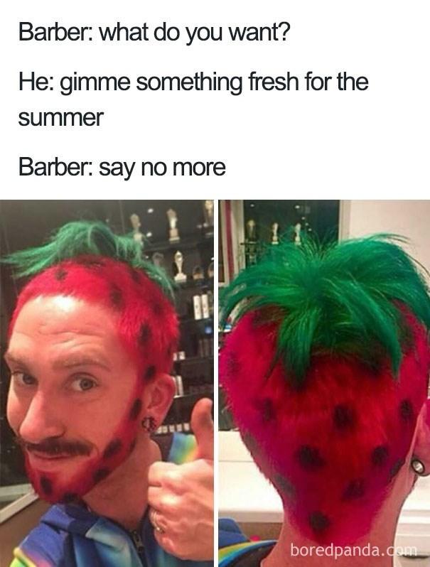 haircut meme of someone that looks like a strawberry
